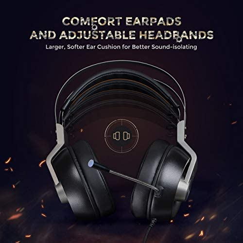 Mpow EG3 Pro – Over-Ear Gaming Headset for PC,PS4,Xbox One, Nintendo Switch,3D Surround Sound,Noise Cancelling Mic&Soft Memory Earmuff 412OqDDCftL