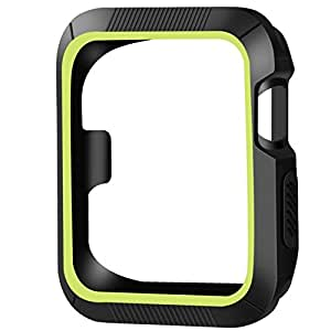 OULUOQI Apple Watch Case 42mm, 2 colors Design Shock-proof Black/Volt Yellow