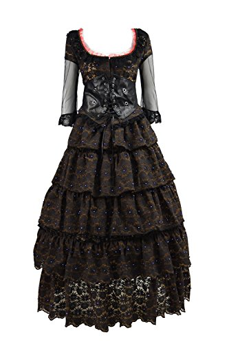 TISEA Women's Halloween Thriller Movie Character Mrs. Lovett Cosplay Long Dress (M, Black Brown) -
