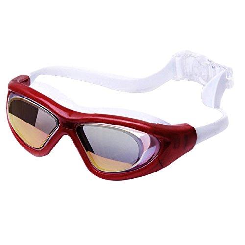 Millya Lunettes de natation avec clair Grand cadre Verres miroir anti-buée protection UV Lunettes de natation pour homme femme enfant