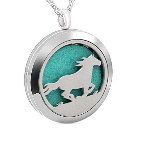 Chaomingzhen Essential Oil Necklace Aromatherapy Diffuser Pendant Pad Horse Run Round Kids Boy Picture Locket Women