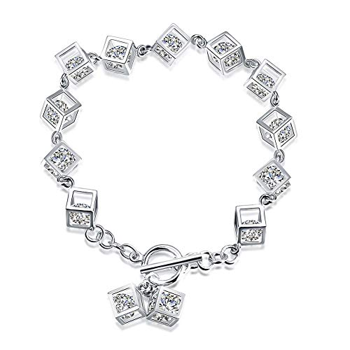 (ALHM Bracelet 925 Sterling Silver Zircon Cubes Jewelry Europe And The United States Popular,Silver-OneSize)