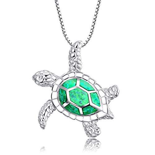 - Victoria Jewelry [Health and Longevity] Rhodium Plated Silver Created Opal Sea Turtle Pendant Necklace 18