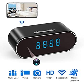 Hidden Spy Camera Clock HD 1080P IP Cameras with Night Vision/Motion Detection/Loop Recording, Nanny Cam for Home Security Monitoring (Black)