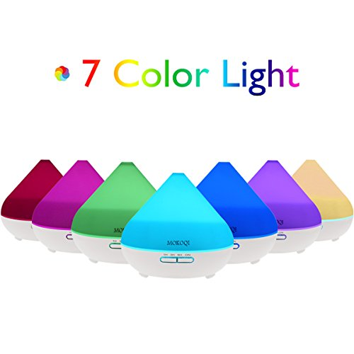 300ML Essential Oil Diffuser MOKOQI Aromatherapy Ultrasonic Cool Mist Humidifier BPA Free With Auto Shut Off Function, 7 Color Changing LED Lights And 4 Timer Settings for Home Office Baby Room