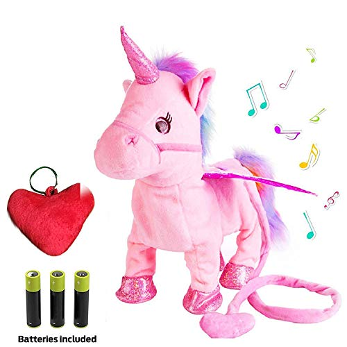 - Plush Unicorn Toy Toys for Girls Electric Pink Pet W/BONUS GIFT Walking Singing Unicorns Interactive Sound Animals Stuffed Animal Puppy Baby Girl Gifts for Babies 8 5 18 Toddlers BATTERIES INCLUDED