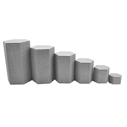 Grey Linen Jewelry Display Stand Shelf Riser Set - 6 Pieces