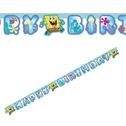 Amazon.com: Bob Esponja Feliz cumpleaños Carta Banner: Toys ...