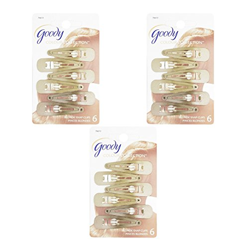 3 Pack Hair Clips (Goody Colour Collection Contour Hair Clips, Blonde, 6 Count (Pack of 3))
