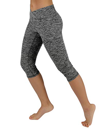 """ODODOS Women's Mid Waisted Tummy Control Yoga Capris,19"""" Inseam Leggings with Inner Pockets"""