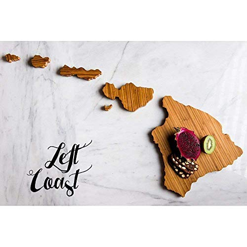 (Hawaii Cutting Board Personalized State Wedding Gift Home Men Chef Dad Mom Grad Kitchen Chopping Monogram Engraved Carved Wood Shape Cook by Left Coast Original)