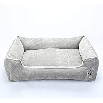 Simple Rectangular Pet Bed Removable Cover, Plush Comfy Durable Cuddler Dogs Cats, Machine Washable Cover, Medium to Extra Large Size, Grey