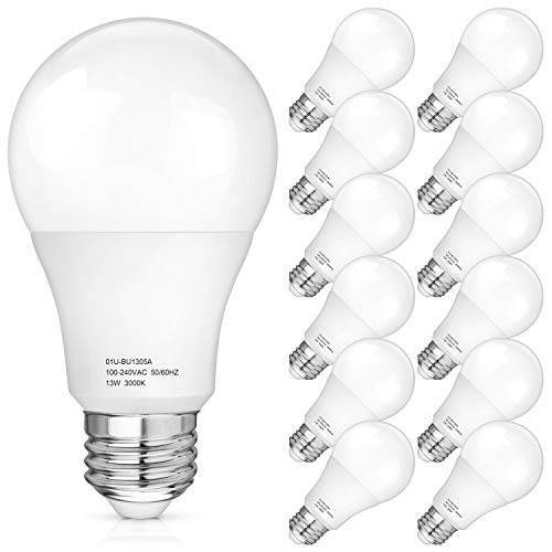 A19 LED Light Bulbs 100-125 Watt Equivalent, 3000K Soft White LED Bulb 13-Watt, 1500 Lumens, E26 Medium Standard Base, CRI85+, 25000+ Hours Lifespan, No Flicker, Non Dimmable, Pack of 12
