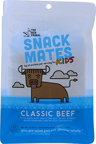 The New Primal Snack Mates - 100% Grass-Fed Beef Sticks for Kids, Pack of 4