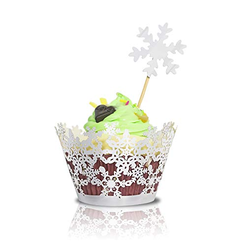 60pcs Snowflake Cupcake Wrappers & Toppers for Party, Birthday, Christmas, Holiday, Wedding, Anniversary, Decoration – DIY Cup Cake Birthday Party Supplies, Reflective silver