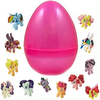 PARK AVE 12 Pony Dolls Figures with Jumbo Egg Storage, 1.5-2' Tall Mini Pony Figure Toys For Kids Cupcake Cake Toppers (My Little Pony Chocolate Eggs)