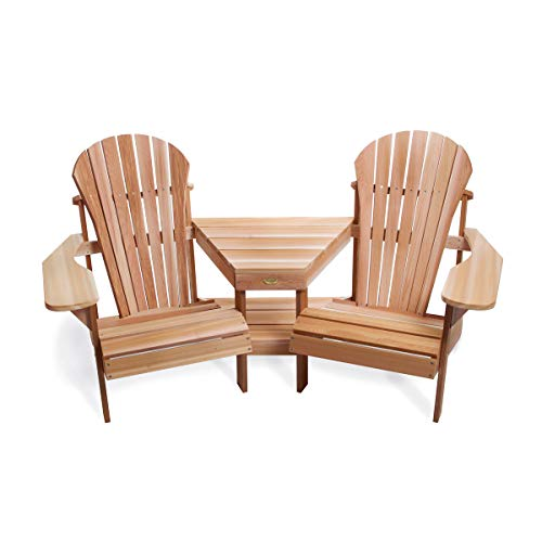 2 Adirondack Chairs Attached Corner Table Tete-a-Tete Clear Western Red Cedar Traditional Wide Arm Rests, Curved Seat, High Contoured Back
