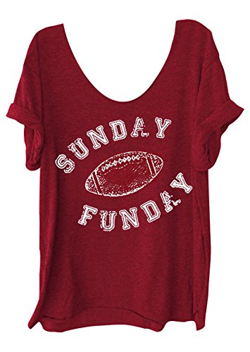 Football Print T-shirt (Women O-Neck Sunday Funday Football Letters Print Tops Funny T-Shirt Casual Short Sleeve Blouse (L, Red))