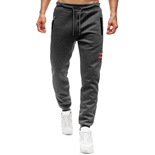 - ANJUNIE Men Splicing Printed Joggers with Pocket Sport Work Activewear Cotton Trouser Pants(1-Dark Gray,XXL)