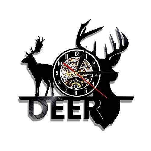 MMLUCK Wall clock1piece Forest Deer Hunter Wall Clock Deer Antlers Vinyl Watch Deer Head Wall Art Vintage Design Illuminated Wall Clock