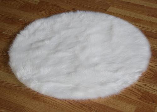 Flokati Faux Fur Rugs 3 Round White