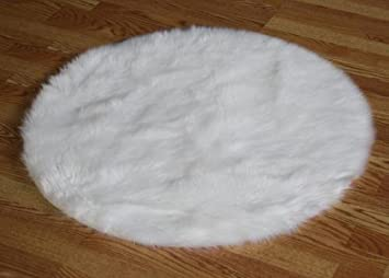 flokati faux fur rugs 4u0027 9 round white