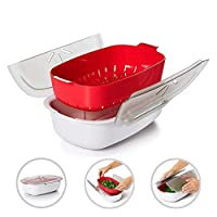 Hamkaw Microwave Steamer, Microwave Oven Vegetable Steamer with Lid Food Grade PP Dishwasher Safe Detachable Universal Rapid Cook Container Healthy Food Cooker for Kitchen