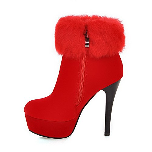 41 Frosted Low Zipper With Red Solid Charms Boots AllhqFashion High Top Womens Heels twwfa7