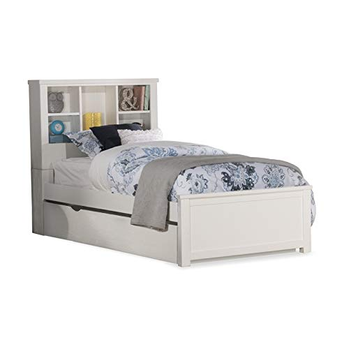 NE Kids Highlands Bookcase Bed with Trundle - Twin - White Finish