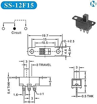 HANBIN proyectos electr/ónicos Negro para Peque?os proyectos de Bricolaje 5V 0.3 A Mini Size Interruptor Deslizante SPDT 40pcs