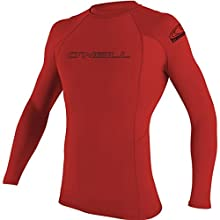 O'Neill Wetsuits UV Sun Protection Mens Basic Skins Long Sleeve Crew Sun Shirt Rash Guard, Red, Large