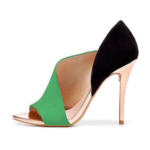 4 Peep Women Heels US Stiletto Toe Sexy D'Orsay Shoes Green Party Sandals 15 Evening Size Cutout FSJ Pumps 1EU6w6