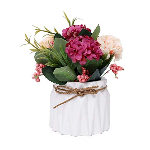 (FABSELLER Artificial Flowers Artificial Hydrangea Flowers in Ceramic Vase Mini Potted Plant for Wedding Home Party Office Table, White)