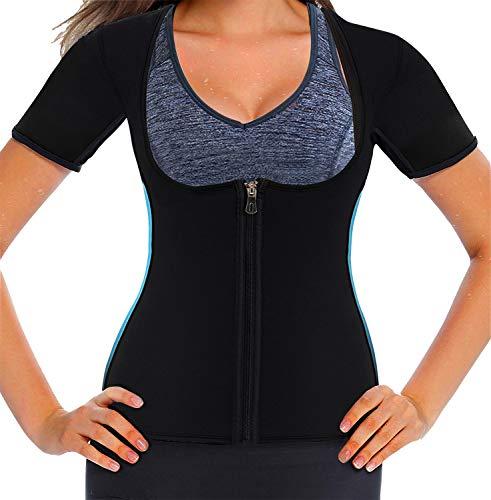 Mlxgoie Women Neoprene Sauna Sweat Waist Trainer Vest for Weight Loss Gym Workout Body Shaper Tank Top Shirt with Zipper (Blue, XXXX-Large) (Best Weight Loss Equipment)