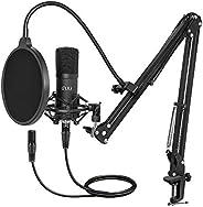 XLR Condenser Microphone, UHURU Professional Studio Cardioid Microphone Kit with Boom Arm, Shock Mount, Pop Fi
