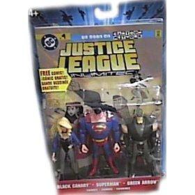 JLA Justice League Unlimited Black Canary, Superman, & Green Arrow Action Figure Set (Justice League Black Canary And Green Arrow)