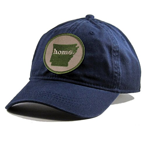 Homeland Tees Men's Arkansas Home Patch Navy Cotton Twill Hat - Army Green Patch (Eureka Christmas Day Springs)