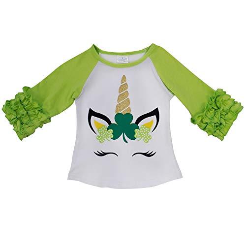 (So Sydney New Toddler & Girl Fall & Winter Holiday Sparkle Ruffle Raglan T-Shirt (XXS (12-18 Months), Shamrock Unicorn))