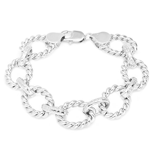 Roberto Martinez Silver-Plated-Bronze Cable Link Bracelet, 7.5 Inch