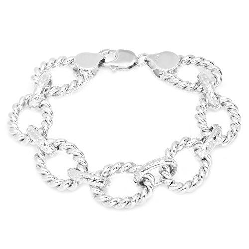 Bracelet Chunky Link (Roberto Martinez Silver-Plated-Bronze Cable Link Bracelet, 7.5 Inch)