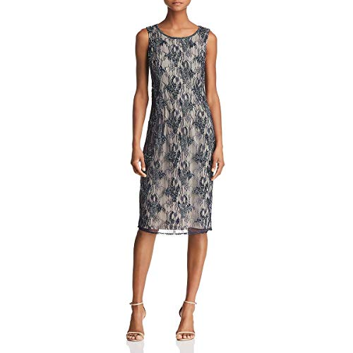 - Adrianna Papell Women's Sleeveless Beaded Cocktail Dress, Midnight/Silver, 2