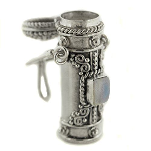 Tall Sterling Silver Rainbow Moonstone Poison Bottle Pillbox Urn Pendant