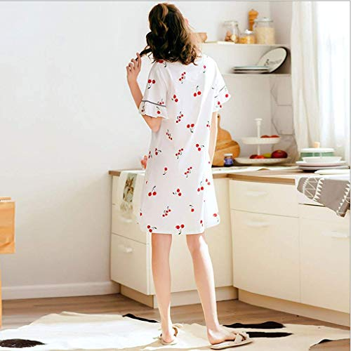 Anchos Pijama Moda Cuello Corta Manga Dormir Pijamas Blanco De Volantes Mujeres Estampadas Ropa Redondo Vestidos Cereza Mujer Clásico Elegante w4CqP