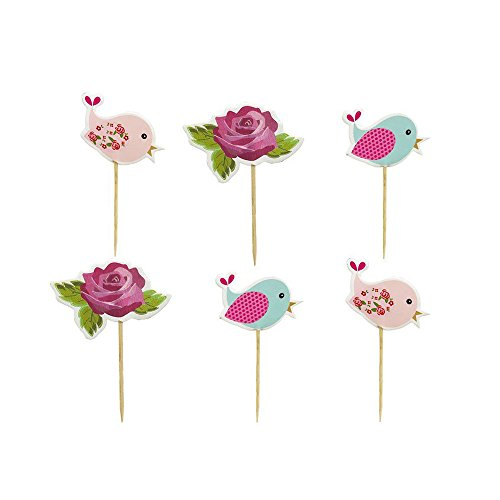 Flower Bird Cake Cupcake Toppers Picks for Wedding Birthday Baby Shower Party Decorations 48 PCS