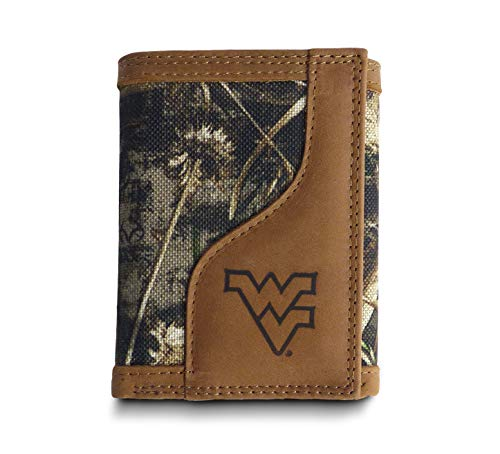 (West Virginia Mountaineers Tri-fold Realtree Max-5 Camo & Leather Wallet - Zep-Pro - NCAA)