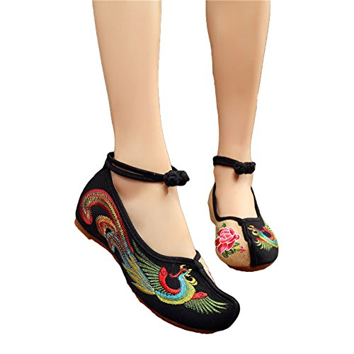 black cotton mary jane chinese dress shoes - 9