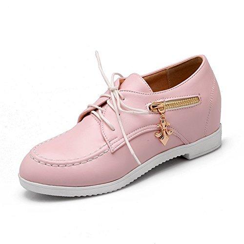 Allhqfashion Femmes Kitten-heels Matière Souple Solide À Lacets Ronds Bout Fermé Pompes-chaussures Rose