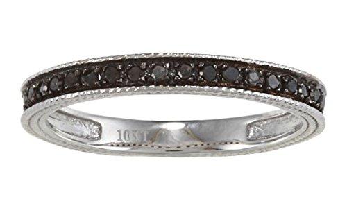 10k White Gold Vintage-Style Black Diamond Wedding Band (1/6 cttw, I-J Color, I2-I3 (Antique Style Diamond Band Ring)