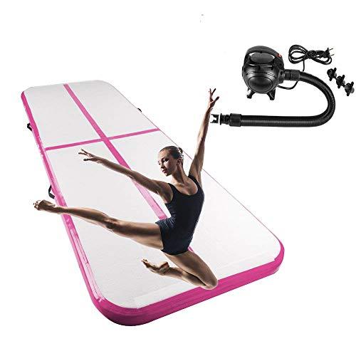 "Matladin 10'x3.3′ Gymnastics Exercise Mat Inflatable Tumbling Mats, Air Tumbling Track Electric Pump Home use, Gymnastics Training, Beach, Yoga, Water (Air Mat – 10'x3.3'x4"", Pink)"