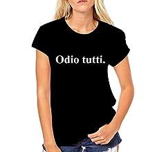 Maglietta Divertente Donna Idea Regalo Puzzletee Tshirt Odio Tutti